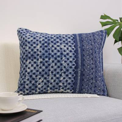 Cotton batik cushion cover, 'Modern Indigo' - Indigo Cotton Batik Rectangular Cushion Cover