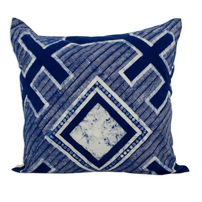 Cotton batik cushion cover, 'Square Hmong Cross' - Square Indigo Cushion Cover in All Cotton