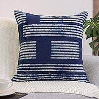 Cotton batik cushion cover, 'Square Split Bamboo' - Indigo Blue Batik Cushion Cover from Thailand