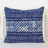 Cotton batik cushion cover, 'Square Modern Indigo' - Batik Patterned Indigo Cotton Cushion Cover