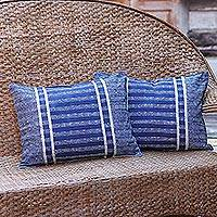 Batik cotton cushion covers, 'Thai Parallels' (pair) - Handmade Batik Cushion Covers in Blue Cotton (Pair)