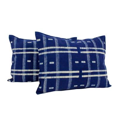 Cotton batik cushion covers, 'Thai Modern' (pair) - Indigo and White Rectangular Cushion Covers in Cotton (Pair)