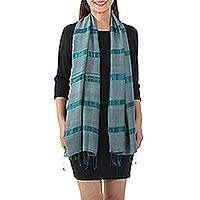 Silk blend scarf, 'Sound of Nature in Viridian' - Handwoven Striped Silk Blend Scarf in Viridian from Thailand