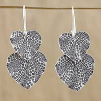 Silver dangle earrings, 'Lotus Garden' - Lotus Leaf Karen Hill Tribe Silver 950 Dangle Earrings