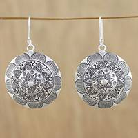 Silver dangle earrings, 'Lanna Welcome' - Round Floral Motif Earrings in 950 Hill Tribe Silver