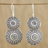 Silver dangle earrings, 'La Na Flowers' - Floral Karen Silver Dangle Earrings from Thailand