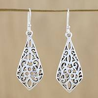 Sterling silver dangle earrings, 'Perfect Evening' - Sterling Silver Openwork Dangle Earrings from Thailand