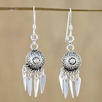 Sterling silver chandelier earrings, 'Chiang Mai Glisten' - Artisan Crafted Sterling Silver Earrings from Thailand
