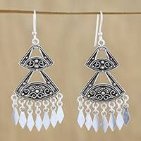 Sterling silver chandelier earrings, 'Chiang Mai Fans' - Fan-Shaped Sterling Silver Earrings from Thailand