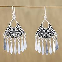 Sterling silver chandelier earrings, 'La Na Fans' - Sterling Silver Fan Chandelier Earrings from Thailand