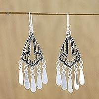 Sterling silver chandelier earrings, 'Glistening Drops' - Openwork Sterling SIiver Chandelier Earrings from Thailand