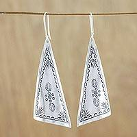 Silver dangle earrings, 'Exotic Triangles' - Triangular Karen Silver Dangle Earrings from Thailand