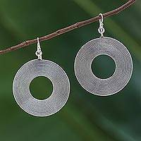 Sterling silver dangle earrings, 'For the Record' - Sterling Silver Circle Dangle Earrings from Thai Hill Tribe