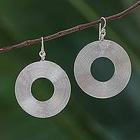 Sterling silver dangle earrings, 'Spiral Donuts' - Circular Sterling Silver Dangle Earrings from Thailand