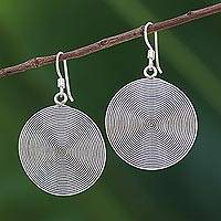 Sterling silver dangle earrings, 'Dark Spiral Circles' - Dark Spiral Circular Sterling Silver Earrings from Thailand