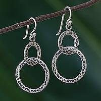 Sterling silver dangle earrings, 'Smith's Links' - Linked Sterling Silver Dangle Earrings from Thailand