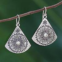 Sterling silver dangle earrings, 'Starry Fans' - Fan-Shaped Sterling Silver Dangle Earrings from Thailand