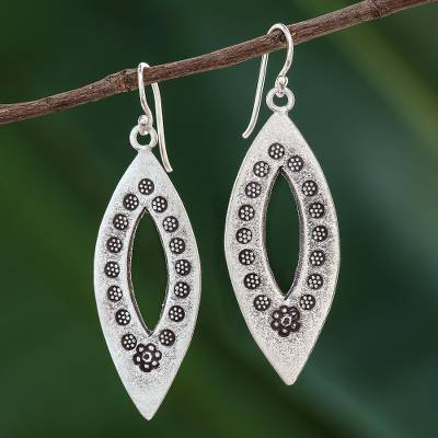 Sterling silver dangle earrings, 'Flower Eyes' - Elliptical Sterling Silver Dangle Earrings from Thailand