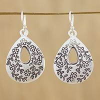 Sterling silver dangle earrings, 'Floral Loops' - Drop-Shaped Floral Sterling Silver Earrings from Thailand