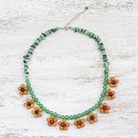 Quartz and tiger's eye beaded necklace, 'Tiny Flowers in Orange' - Tiger's Eye and Quartz Beaded Necklace from Thailand