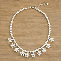 Multi-gemstone beaded necklace, 'Tiny Flowers in White' - Cultured Pearl Beaded Necklace from Thailand