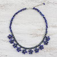 Lapis lazuli and cultured pearl beaded necklace, 'Tiny Flowers in Blue' - Lapis Lazuli and Pearl Beaded Necklace from Thailand