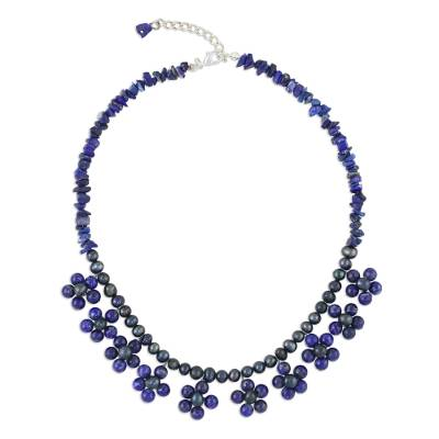 Lapis Lazuli and Pearl Beaded Necklace from Thailand