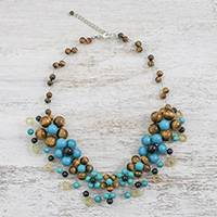 Tiger's Eye and calcite beaded necklace, 'Colorful Bubbles' - Tiger's Eye and Calcite Beaded Necklace from Thailand