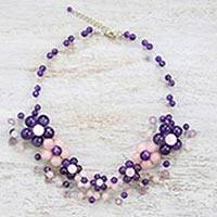 Amethyst and rose quartz beaded necklace, 'Lilac Bubbles' - Amethyst and Rose Quartz Beaded Necklace from Thailand
