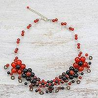 Multi-gemstone beaded necklace, 'Fiery Bubbles' - Carnelian Onyx and Tiger's Eye Beaded Necklace from Thailand
