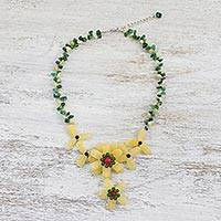 Multi-gemstone pendant necklace, 'Forever Flower' - Aventurine Onyx and Quartz Pendant Necklace from Thailand