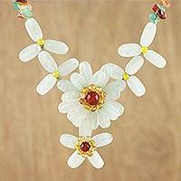 Multi-gemstone pendant necklace, 'Eternal Flower' - Aventurine Quartz and Carnelian Necklace from Thailand