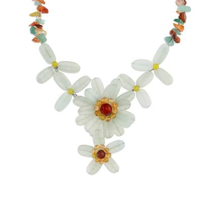 Aventurine Quartz and Carnelian Necklace from Thailand