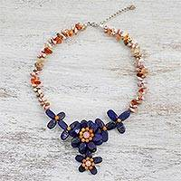 Multi-gemstone pendant necklace, 'Timeless Flower' - Multi-Gemstone Beaded Pendant Necklace from Thailand