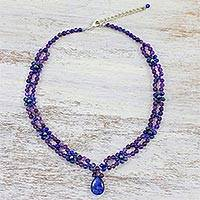 Multi-gemstone pendant necklace, 'Nature's Mystique' - Lapis Lazuli Amethyst and Quartz Necklace from Thailand