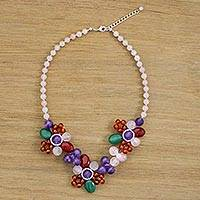 Multi-gemstone beaded necklace, 'Day of Fantasy' - Multi-Gemstone Beaded Pendant Necklace from Thailand