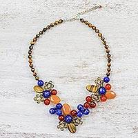 Multi-gemstone beaded necklace, 'Day of Excitement' - Artisan Crafted Multi-Gemstone Necklace from Thailand