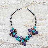 Multi-gemstone beaded necklace, 'Day of Luxury' - Multi-Gemstone Beaded Pendant Necklace from Thailand