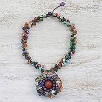Multi-gemstone pendant necklace, 'Nature's Mixture' - Multi-Gemstone Beaded Pendant Necklace from Thailand