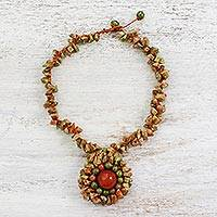 Multi-gemstone pendant necklace, 'Earthen Mixture' - Carnelian Unakite and Jasper Pendant Necklace from Thailand