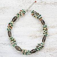 Multi-gemstone beaded necklace, 'Garden Variety' - Smoky Quartz Carnelian and Quartz Necklace from Thailand