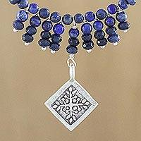 Lapis lazuli pendant necklace, 'Hill Tribe Snowflake' - Blue Lapis and Quartz Necklace with 950 Silver Pendant