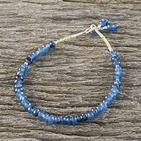 Quartz beaded bracelet, 'Endless Summer Blue' - Handmade Faceted Quartz Bracelet 950 Silver Clasp Thailand