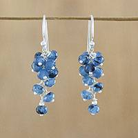 Quartz beaded dangle earrings, 'Endless Summer Blue' - Handmade Quartz Beaded 925 Sterling Silver Earrings Blue