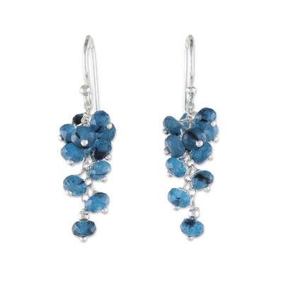 Quartz beaded dangle earrings, 'Endless Summer Blue' - Handmade Quartz Beaded 925 Sterling Silver Earrings Blue