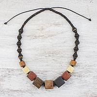 Wood beaded necklace, 'Wood Lover' - Beaded Wood and Coconut Shell Necklace from Thailand