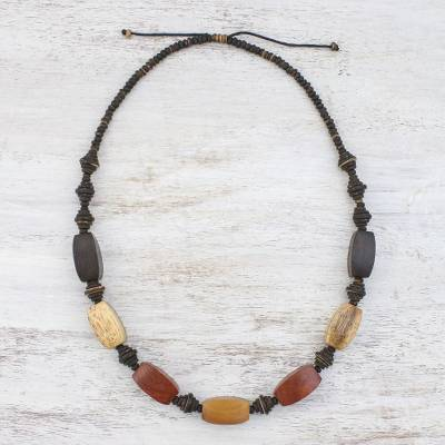 Novica Wood and coconut shell beaded necklace, Thai Holiday