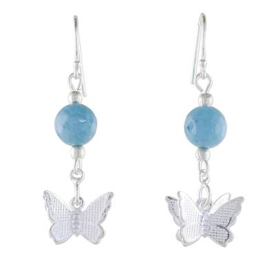 Chalcedony and Sterling Silver Butterfly Dangle Earrings
