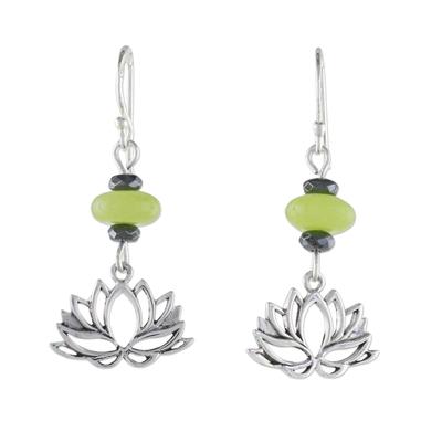 Handmade Agate and Hematite Lotus Dangle Earrings