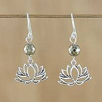 Pyrite dangle earrings, 'Lotus Gleam' - Pyrite and Sterling Silver Lotus Dangle Earrings